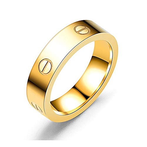 Dubeauty Love Ring Lifetime Titanium Stainless Steel Couples Wedding Engagement Anniversary Engraved Bands Gold Size 8 by Dubeauty