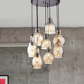 The Lighting Store Mariana Cognac Glass Cluster Pendant in Antique Black Finish