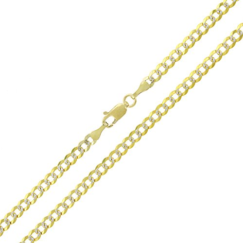 14k Yellow Gold 3.5mm Solid Cuban Curb Link Diamond Cut Two-Tone Pave Necklace Chain 20'' - 24'' (22) by In Style Designz