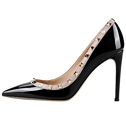 Pumps Punta On 10CM Nero con Dress a Borchie Stiletto Borchia Pan altoSlip Elegante Tacco Pumps In Oro Caitlin rivettato Donna Punta aRz8nqX81