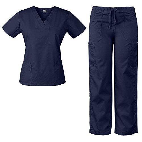 Medgear Womens Scrubs Set 4 Pocket V Neck Top and Multiple Pocket Drawstring Cargo Pant