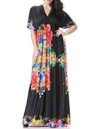 Wantdo Women's Casual Boho V-neck Beach Maxi Dress Plus Size