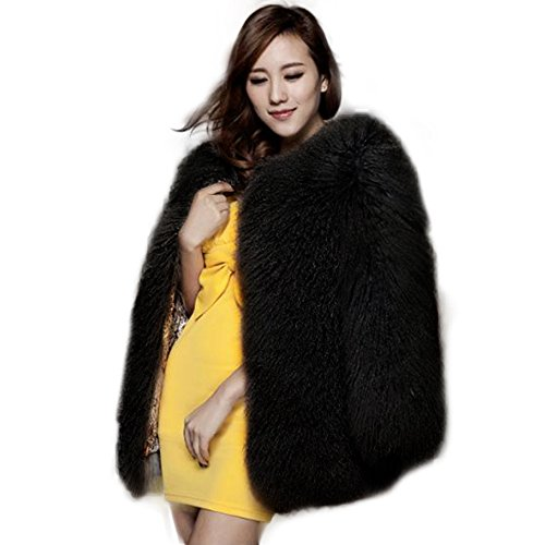 Manka Vesa Fur Coat Real Mongolian Lamb Fur Long Sleeve Waistcoat Jacket Outwear Black