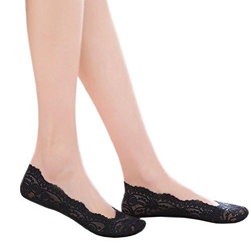 de Par forro Negro 1 del calcetines barco Plantilla invisible antideslizantes JHosiery Con footsies Mujer Acolchada escotado zapato O7ntTSqI
