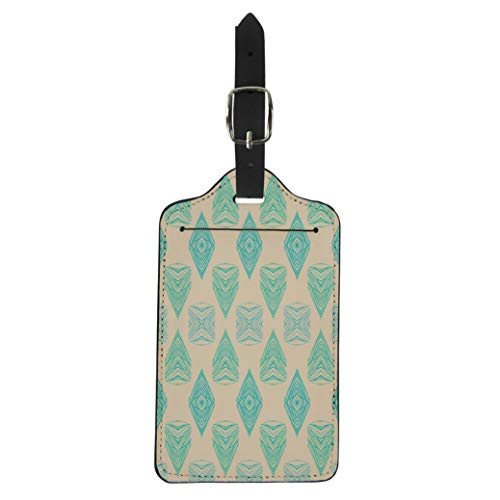 Semtomn Luggage Tag 1930S Geometric Pattern in Pink Green Colors Vintage Suitcase Baggage Label Travel Tag Labels (Pink Argyle Hot Diamonds)