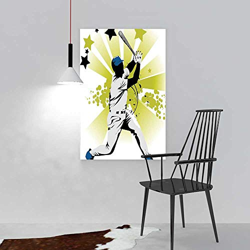 L-QN Wall Art Painting Frameless Sports Pitcher Hits The Ball Fast Stars All Over The Bat SpeedGame Motion Team Posters Wall Decor Gift W36 x H48