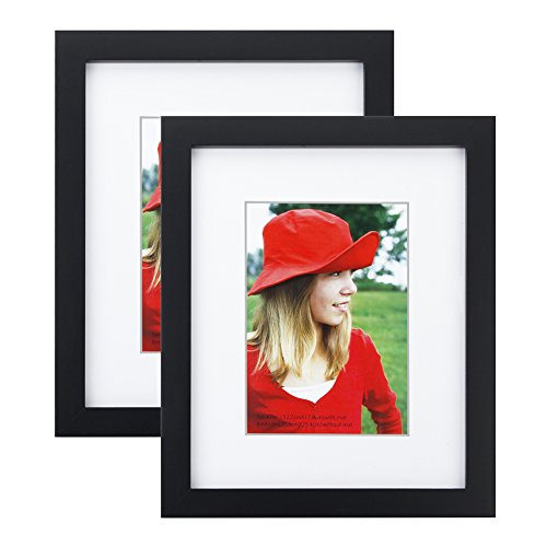 RPJC 8x10 inch Picture Frame (2pk) Made of Solid Wood and High Definition Glass Display Pictures 5x7 with Mat or 8x10 Without Mat for Wall Mounting Photo Frame Black