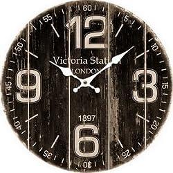 Round Dark Brown and Black Victoria Station London Decorative Clock 13 x 13 Inches Quartz movement #93