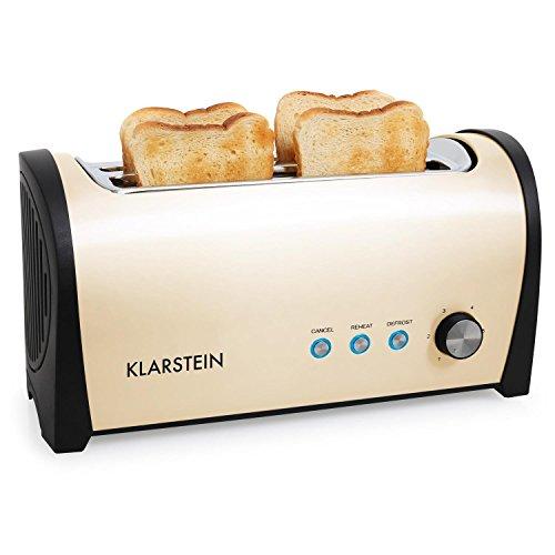 Klarstein Cambridge Doppel-Langschlitz-4-Scheiben-Toaster Edelstahl Langschlitztoaster (1400W, mit Brötchenaufsatz, stufenlose Bräunungsgradeinstellung) creme