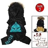 Como Black Pet Puppy Dog Apparel Clothes Hooded Jacket Coat Pants Jumpsuit Size M, My Pet Supplies