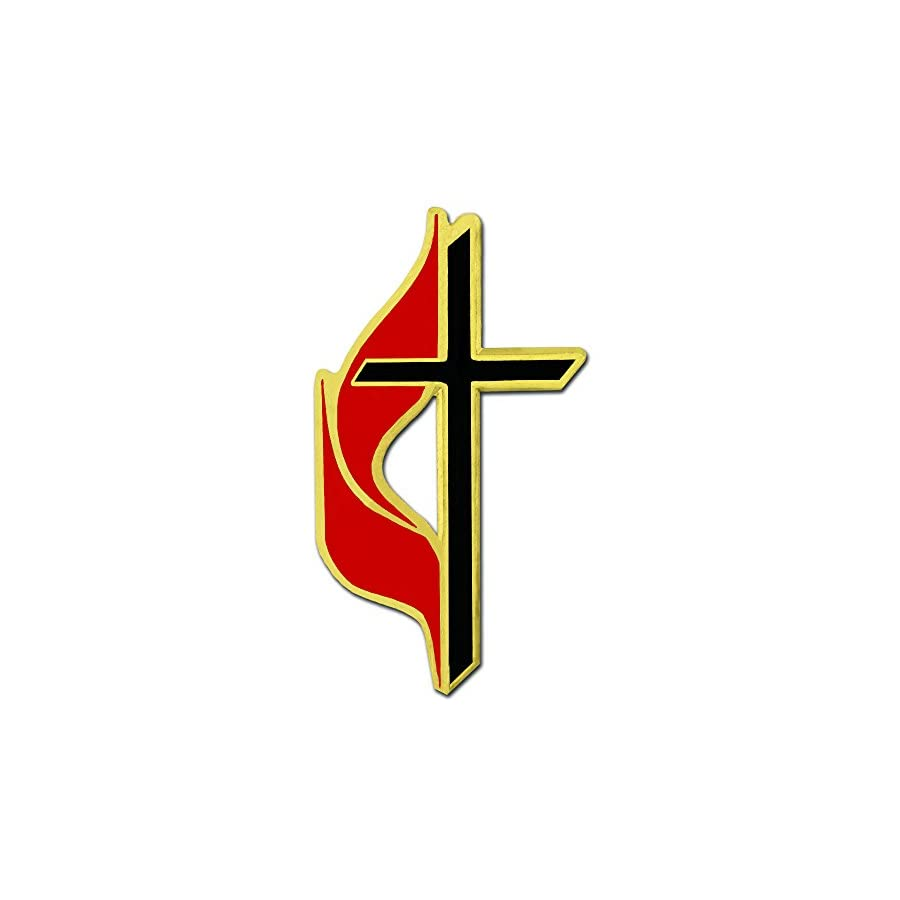 PinMart Methodist Cross Religious Enamel Lapel Pin