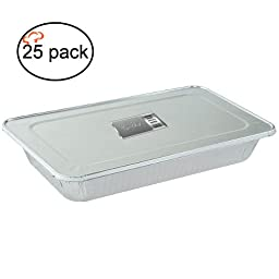 TigerChef TC-20536 Durable Full Size Deep Aluminum Foil Steam Table Pans with Aluminum Foil Lids and Recipe Card, Multi-Purpose Pans with Covers, 21\