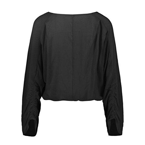 tops shirt chemisier plus la Noir dames dcontract Femmes t taille longues manches lache Chemise 18qydpXx