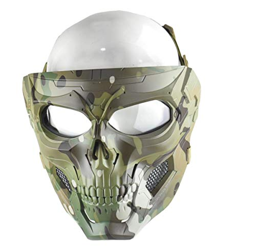 JFFCESTORE Tactical Airsoft Mask and Fast Helmet,Protective Full Face Clear Goggle Skull mask Dual Mode Wearing Design Adjustable Strap One Size fits All (Mask Camo)