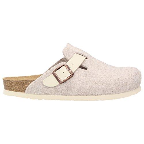 ZWEIGUT® -Hamburg- komood #345 Pantoffeln Hausschuhe Damen Komfort Wollfilz Puschen Clogs Latschen Leder-Komfort-Fußbett Beige