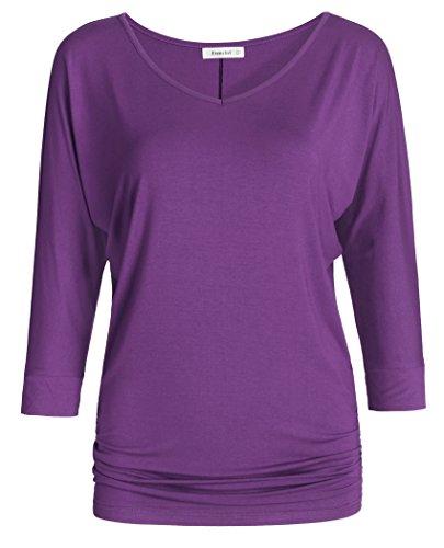 (Esenchel Women's V-Neck Dolman Top 3/4 Sleeve Drape Shirt 3X Purple)