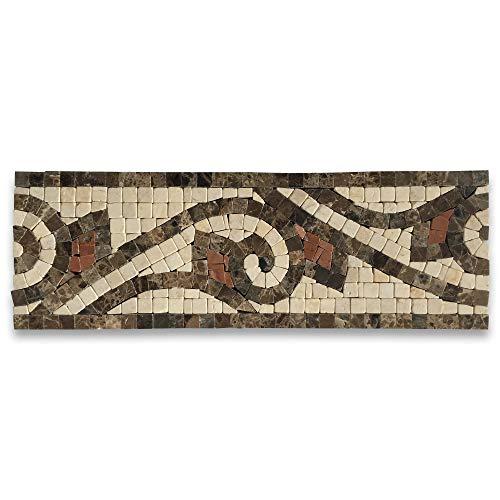 (Waltz Beige 4x12 Marble Mosaic Border Listello Tile Polished Tumbled)