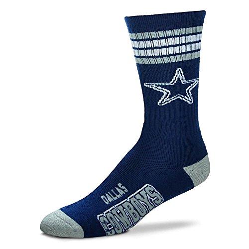 Dallas Cowboys 4 Stripe Youth Size NFL Crew Kids Socks (4-8 YRS) ()