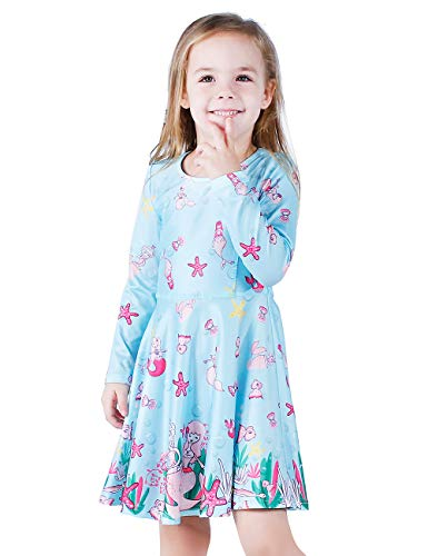 LaBeca Baby Girls Mermaid Printed Long Sleeve T-Shirt Dress Mermaid Fall XS -