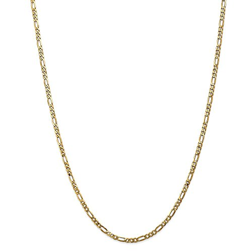 (14k Yellow Gold 3mm Flat Link Figaro Necklace Chain Pendant Charm Fine Jewelry Gifts For Women For Her)