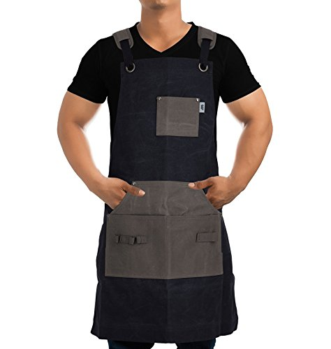 Work Apron For Men & Women By Premium Rhino - Heavy Duty Waxed Canvas - Multiple Tools Pockets - Adjustable Unisex Sizing - For Woodworking, Painting, Crafting, Cooking & Bartenders (BLACK) by Premium Rhino