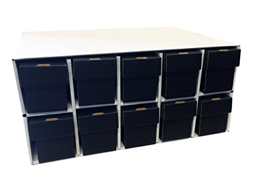 Card Penthouse House Storage Box - with 10 800-Count Black Vertical Storage Boxes ()