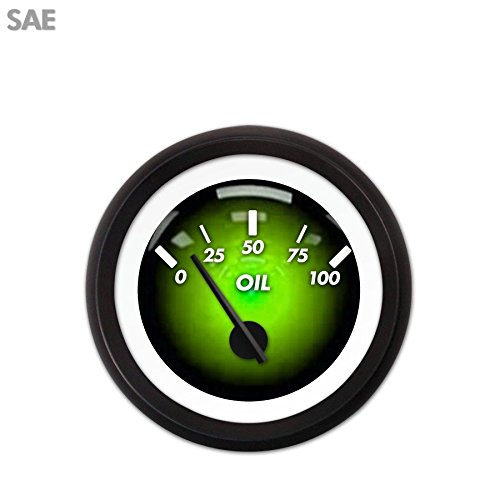 Aurora Instruments 3686 Pulsar Green SAE Oil Pressure Gauge Black Modern Needles, Black Trim Rings, Style Kit DIY Install