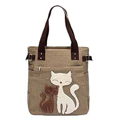 YZSKY Women Canvas Handbag Cartoon Cat Big Tote Bag