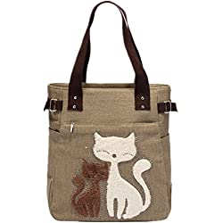 YZSKY Women Canvas Handbag Cartoon Cat Big Tote Bag (Khaki)