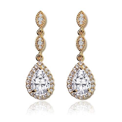 (A+O Elegant Teardrop Cubic Zirconia Crystal Earrings in Silver, Gold, Rose Gold (Gold))