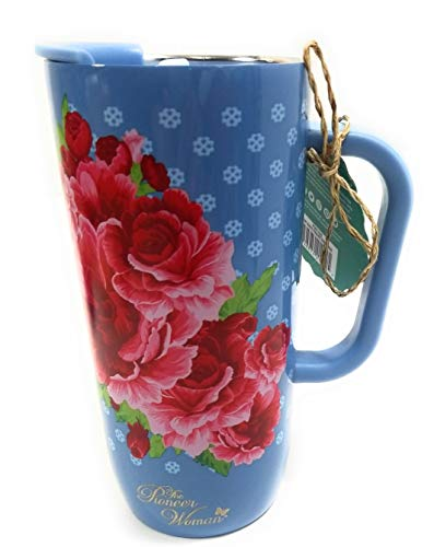 The Pioneer Woman Frontier Rose Stainless Steel Double Wall Vacuum Insulated Travel Mug, 20 oz, Country Blue with Rose Florals