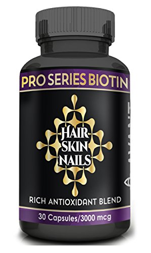 Antioxidant Rich Formula (Biotin Hair Growth Vitamins for Longer, Stronger Hair and Nails in Women & Men, Antioxidant Rich Formula for Radiant Skin and Wrinkle Prevention All Natural | 30ct/3,000 mcg Pro Series Biotin Avant)