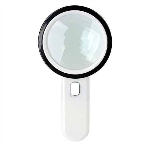20X Handheld Reading Loupe Magnifier with 12 LED Light (Plastic and Glass, White, within 2 Batteries) Illuminated Magnifying Glass for Macular Degeneration, Craft and Hobby