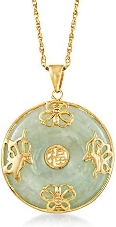 """Ross-Simons Jade""""Good Fortune"""" Butterfly Pendant Necklace in 18kt Gold Over Sterling. 18 inches"""
