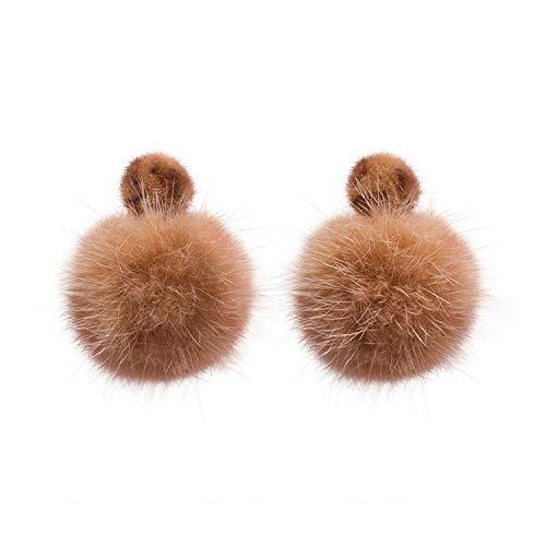 Pearl Button Mink Fur (Winter Ear Accessories Leopard Button Mink Fur Ball Drop Earrings For Women Fashion Lovely Pom Pom Oorbellen)