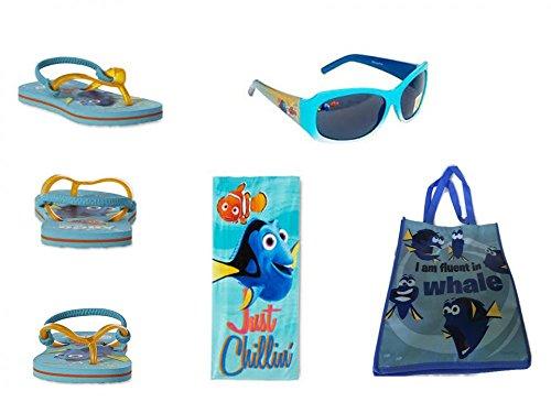 Disney Toddler Boy's Finding Dory & Nemo Flip Flop Sandals, Beach Towel PLUS Sunglasses - Nemo Sunglasses