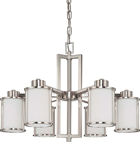Nuvo Lighting 60/3806 Odeon 6-Light Chandelier with Convertible Arms Up or Down and White Satin Glass, Brushed Nickel