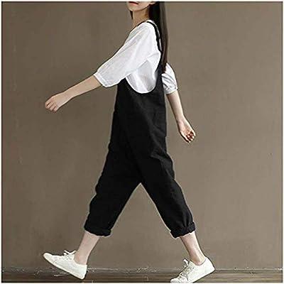 Women's Casual Cotton Linen Plus Size Overalls Baggy Wide Leg Loose Rompers Jumpsuit: Clothing