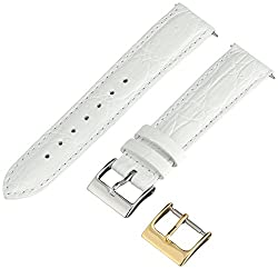 Artisan of Italy CITQR100-0018LR Women's Fashion Quick-Release Padded Crocodile 18mm White Watch Strap