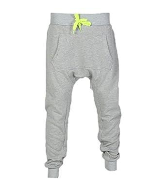 omasculin - Pantalon sarouel jogging gris clair à poche kangourou ... 2a29519c6fa