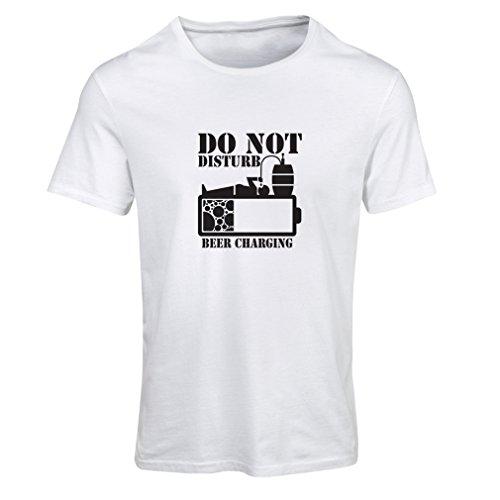 lepni.me N4222F T Shirts For Women Beer Charging (Large White Black)