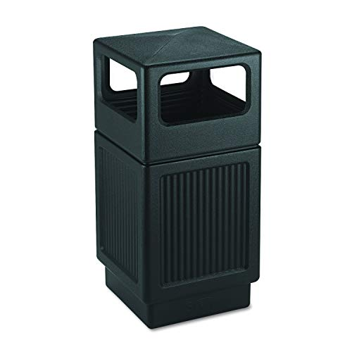 Safco Panel - Safco Products Canmeleon Outdoor/Indoor Recessed Panel Trash Can 9476BL, Black, Decorative Fluted Panels, 38-Gallon Capacity (Renewed)
