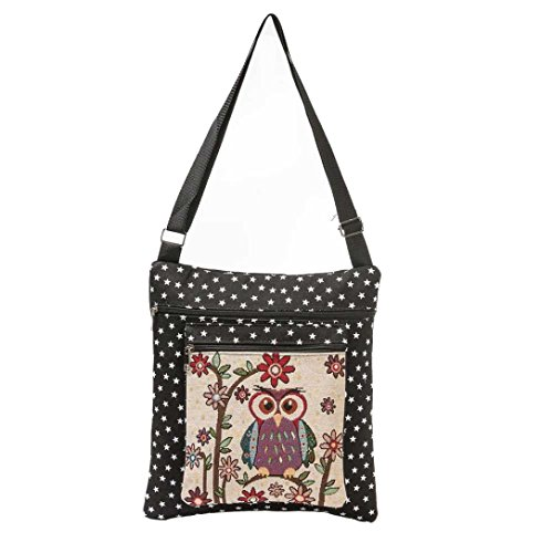 Charberry Owl Printed Women Casual Tote Daily Use Shopping Bag Single Shoulder Handbag - Black Diorissimo
