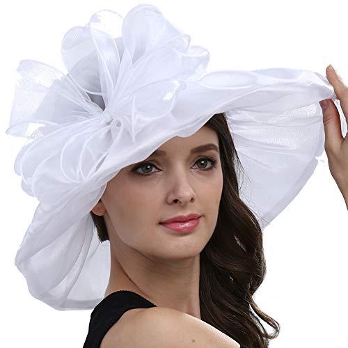 Original One Women Kentucky Derby Ascot Girls Tea Party Dress Church Lace Hats (White)