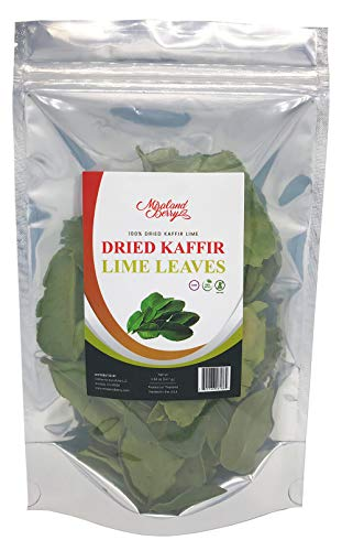 MiralandBerry Dried Kaffir Lime leaves (0.50 Oz), Used in Tom Yum Thai Soup, 100% Natural, Organic Grown, Non GMO