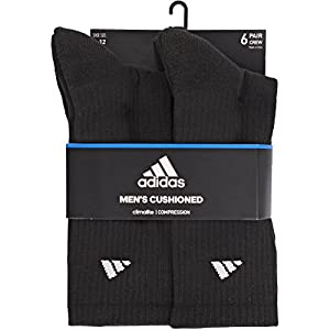 adidas Men's Athletic Crew Sock, Black/Aluminum 2, Pack of 6, Fits Shoe Size 6-12