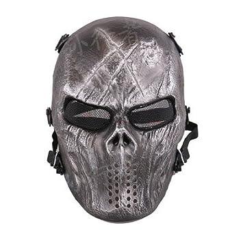 Oottati Táctico Caza Juego Guerra Airsoft Cara Completa Cráneo Aire Libre Máscara Cara de Hierro