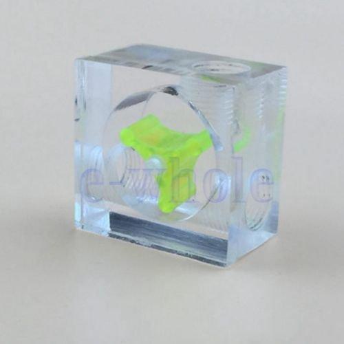 Gozebra(TM) Acrylic 3 PC Ways Water Cooling Visual Flow Indicator Meter G1/4 Thread Green GW