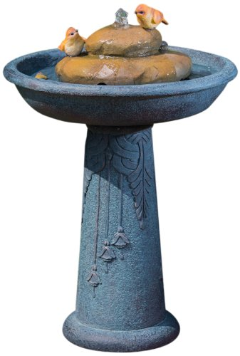Alfresco Home Resin Bird Bath Outdoor Fountain