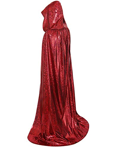 GRACIN Unisex Christmas Santa Claus Cloak, Adult Full Length Shiny Hooded Cape for Holiday Party (Large 59